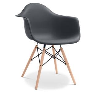 Dark-Grey-ZINZAN-DAW-Armchair-wood-leg