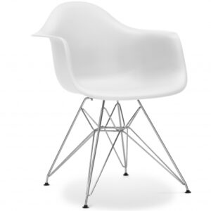 White Zinzar DAR Armchair Chrome Leg